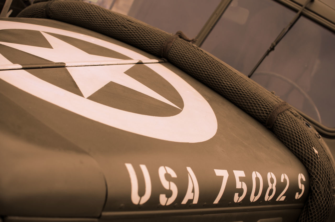 Army Army Life Car Close-up Day No People Number Old Outdoors Patriotism Star Vehicle Vintage Cultures American USA