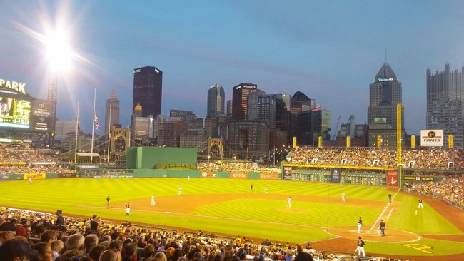 Pittsburghpirates Taking Photos Enjoying Life Outside Outdoors Baseball Game Sports Staduim  Night Photography