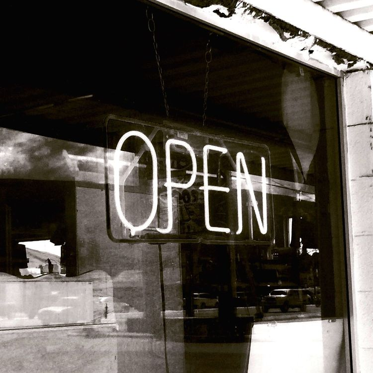 Open for business Neon Neon Sign Open Open Sign Retail Store Retail Window Neon Lights Open Window Open The Door We Are Open For Somebody Open For Business Signs Business Hours Neon Light Storefront Vintage Used Old School Secondhand Rustic Classic No People Blach&white Daytime Reflection