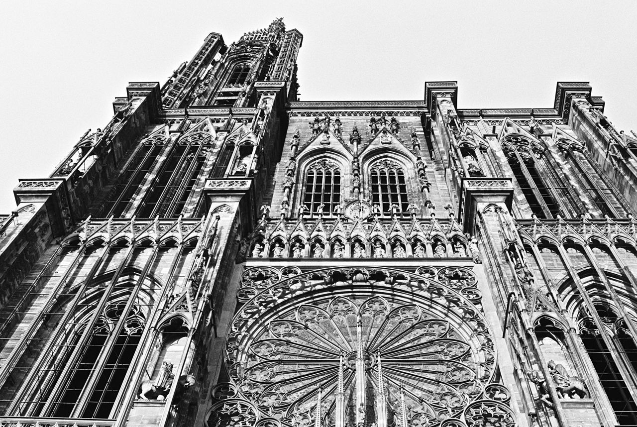 Architecture Low Angle View Building Exterior Built Structure Religion No People Place Of Worship Outdoors Rose Window Spirituality Arch Day Façade Sky Notre-Dame Strasbourg 35mm Filmisnotdead Film Photography Analogue Photography Blackandwhite