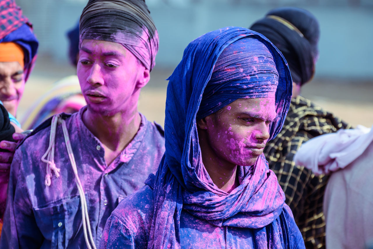 holla mohalla 2k17 Adult Celebration Crowd Cultures Day Headshot Holi Holiday - Event Men Outdoors Participant People Portrait Powder Paint Real People Religion Spirituality Togetherness Traditional Festival