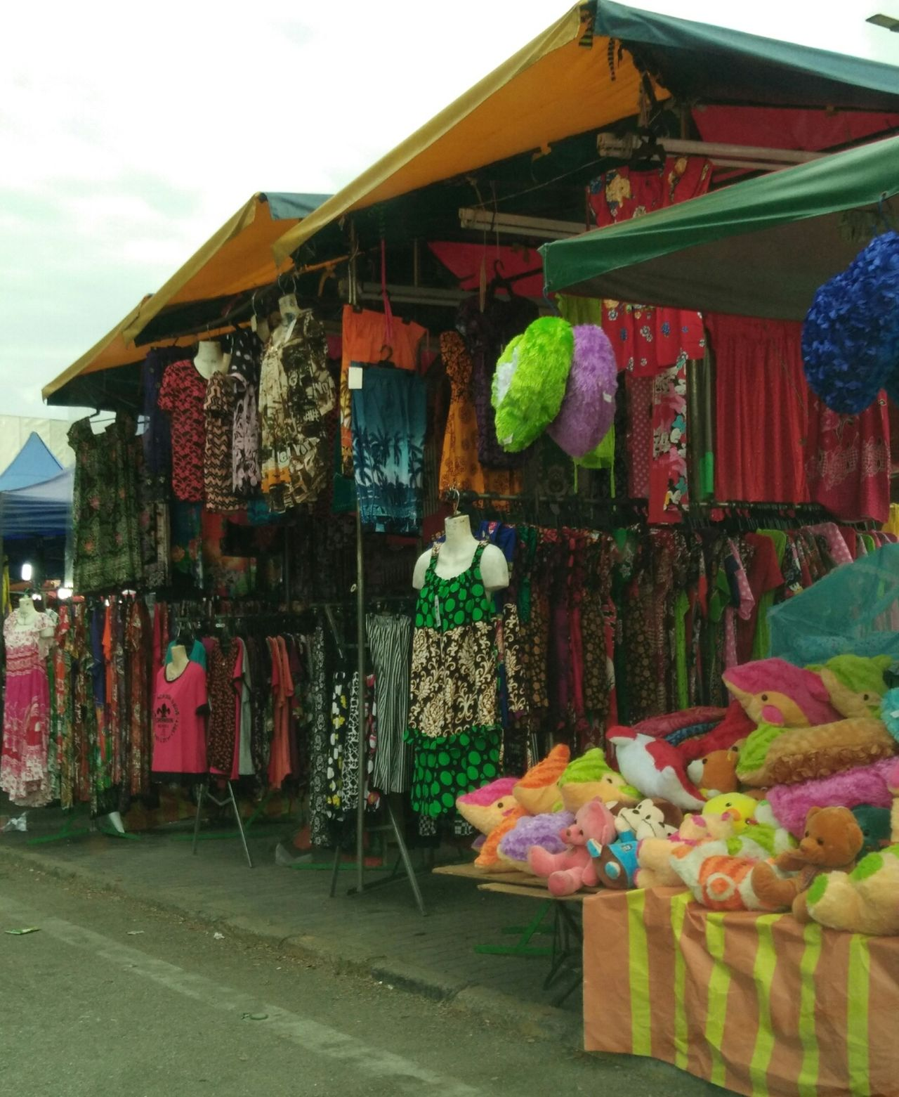 Multi Colored Variation Hanging Retail  Choice For Sale Outdoors Cloth Clothes Hanging Clothing Store Market Stall Colourful Awesome_view Roadscenes