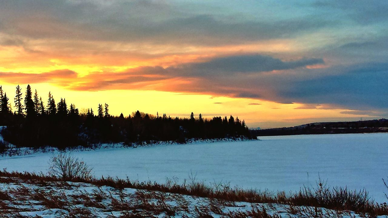 cold temperature, snow, nature, winter, beauty in nature, scenics, tranquil scene, tranquility, weather, sunset, cloud - sky, tree, sky, no people, landscape, outdoors, day