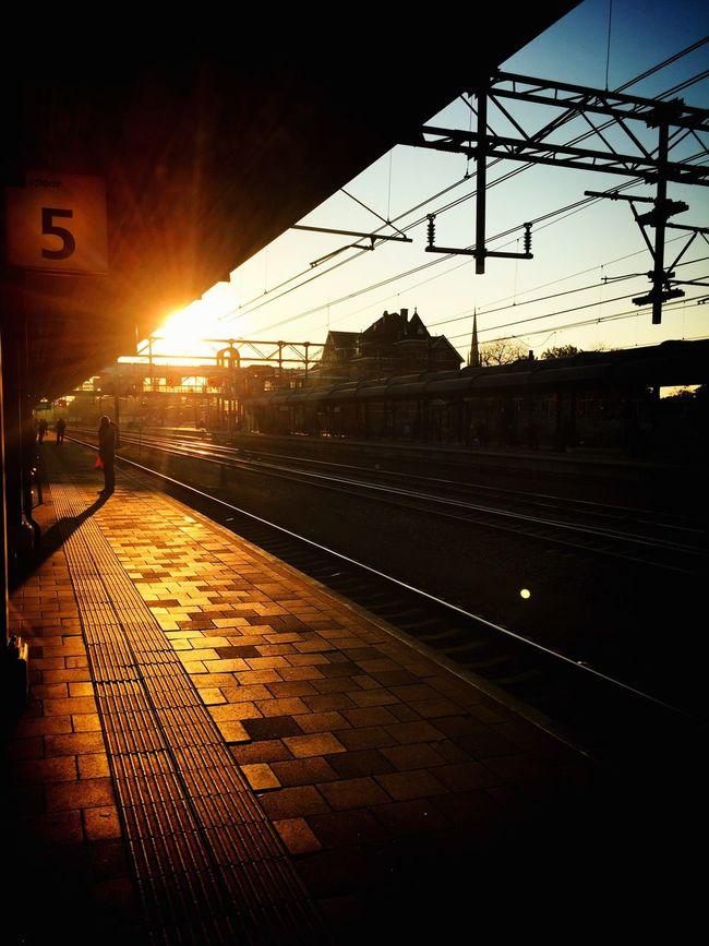 Sunset Woerden Station Woerden IPhoneography Public Transportation Sunsets Train Station Train Iphone6