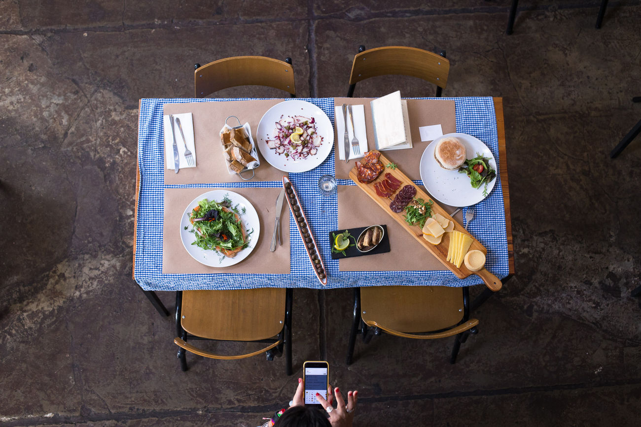 Blue Color Capture The Moment Day Dinner Floor Food Food And Drink Freshness Healthy Eating High Angle View Indoors  Indoors  Lunch Meal One Person People Plate Plates Ready-to-eat Restaurant Table