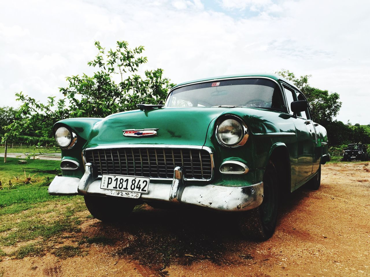 Cuba Cuba Collection Cuba Car Transportation Land Vehicle Mode Of Transport Car Front View Sky Day Cloud - Sky Green Color Outdoors The Past No People