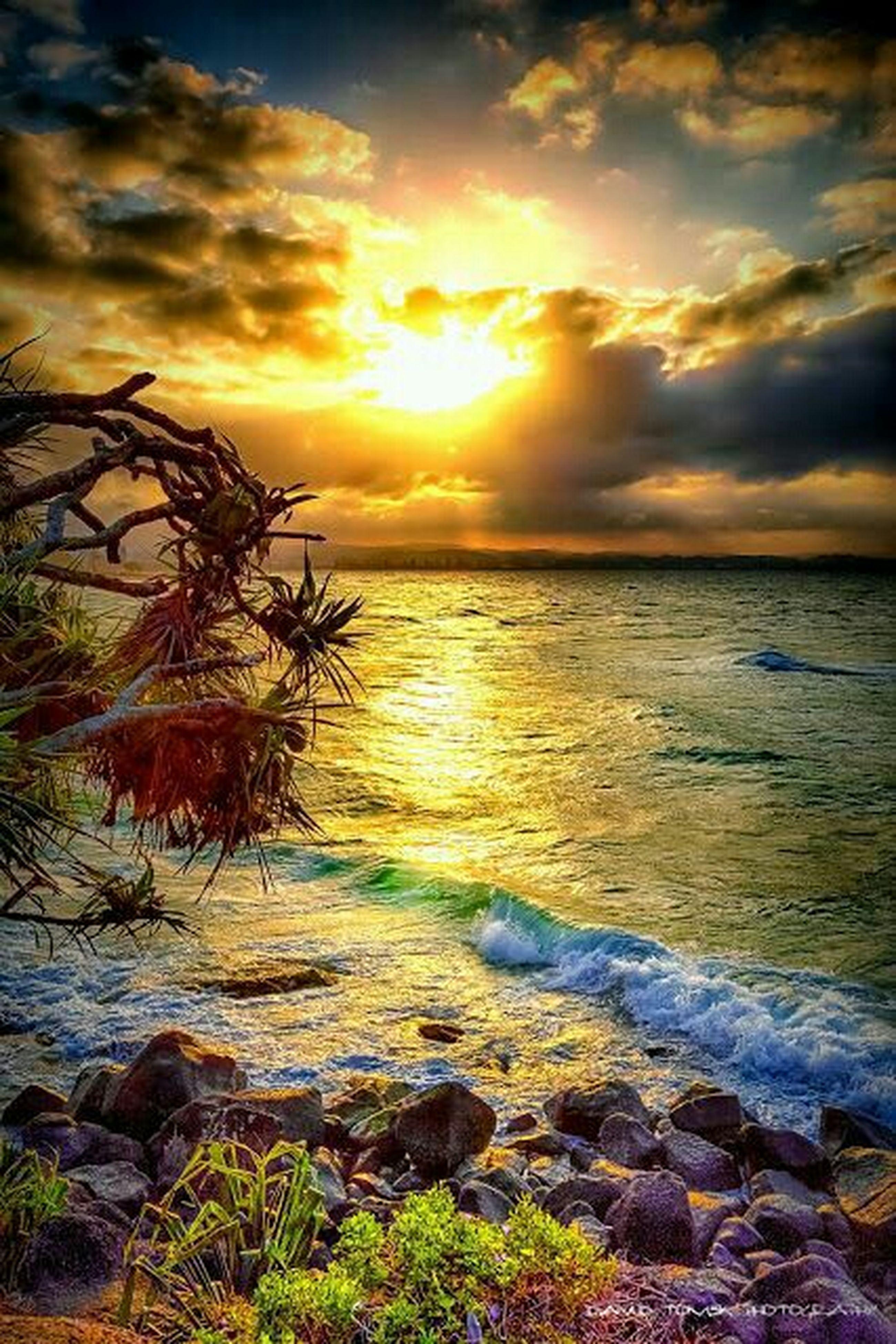 water, sunset, sea, tranquil scene, horizon over water, scenics, sky, beauty in nature, tranquility, sun, beach, nature, shore, cloud - sky, idyllic, orange color, rock - object, sunlight, cloud, reflection