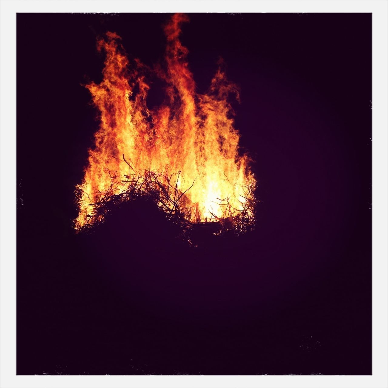 flame, burning, night, no people, heat - temperature, outdoors, silhouette, bonfire, clear sky, tree, close-up, nature
