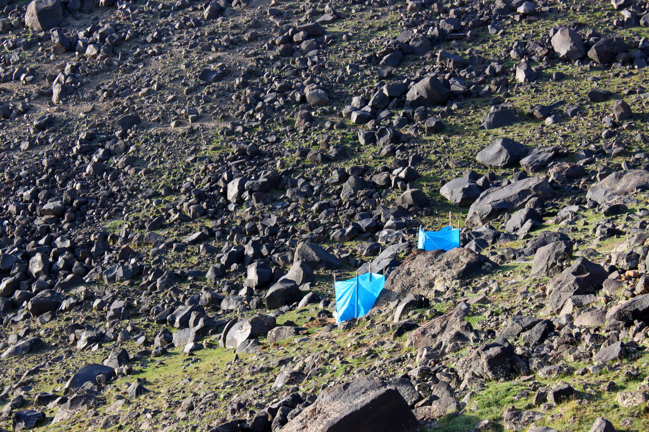 Toilets with sight screen between rubble at the base camp on mount Ararat in Agri province, Turkey Base Camping Canvas No Sky Toilet Toilets Ararat  Ağrı Dağı Boulders Camp Closet Fetidness Latrine Mountain Needs Outdoors Outhouse Pit Privacy Private Rocks Sight Screen Slope Tent Volcanism