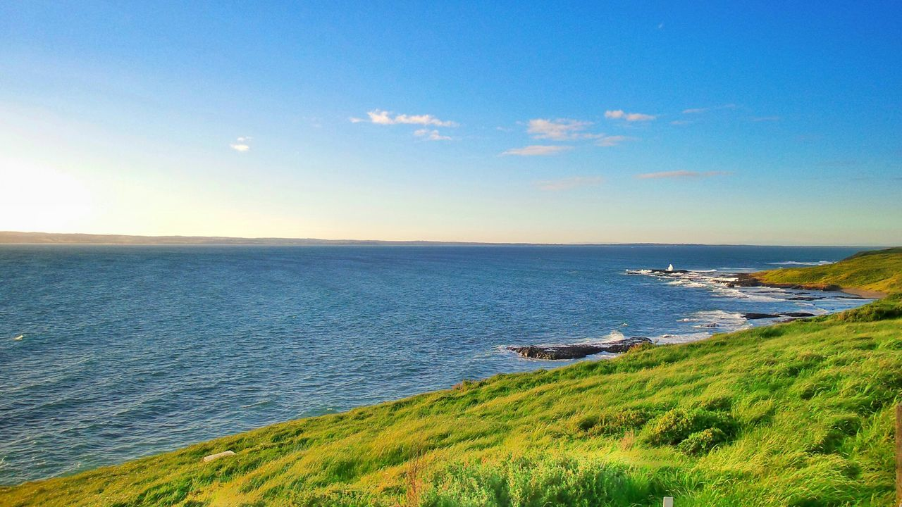 Sea Sea And Sky Sea View Waves, Ocean, Nature Shoreline Waves And Rocks Seaside No People Green Grass Nature
