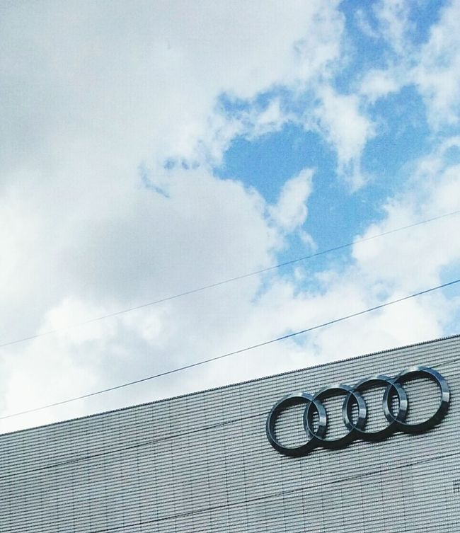 Audi Building Blue Sky And White Clouds While Driving Pattern, Texture, Shape And Form Android Photography Logos Foreign Cars