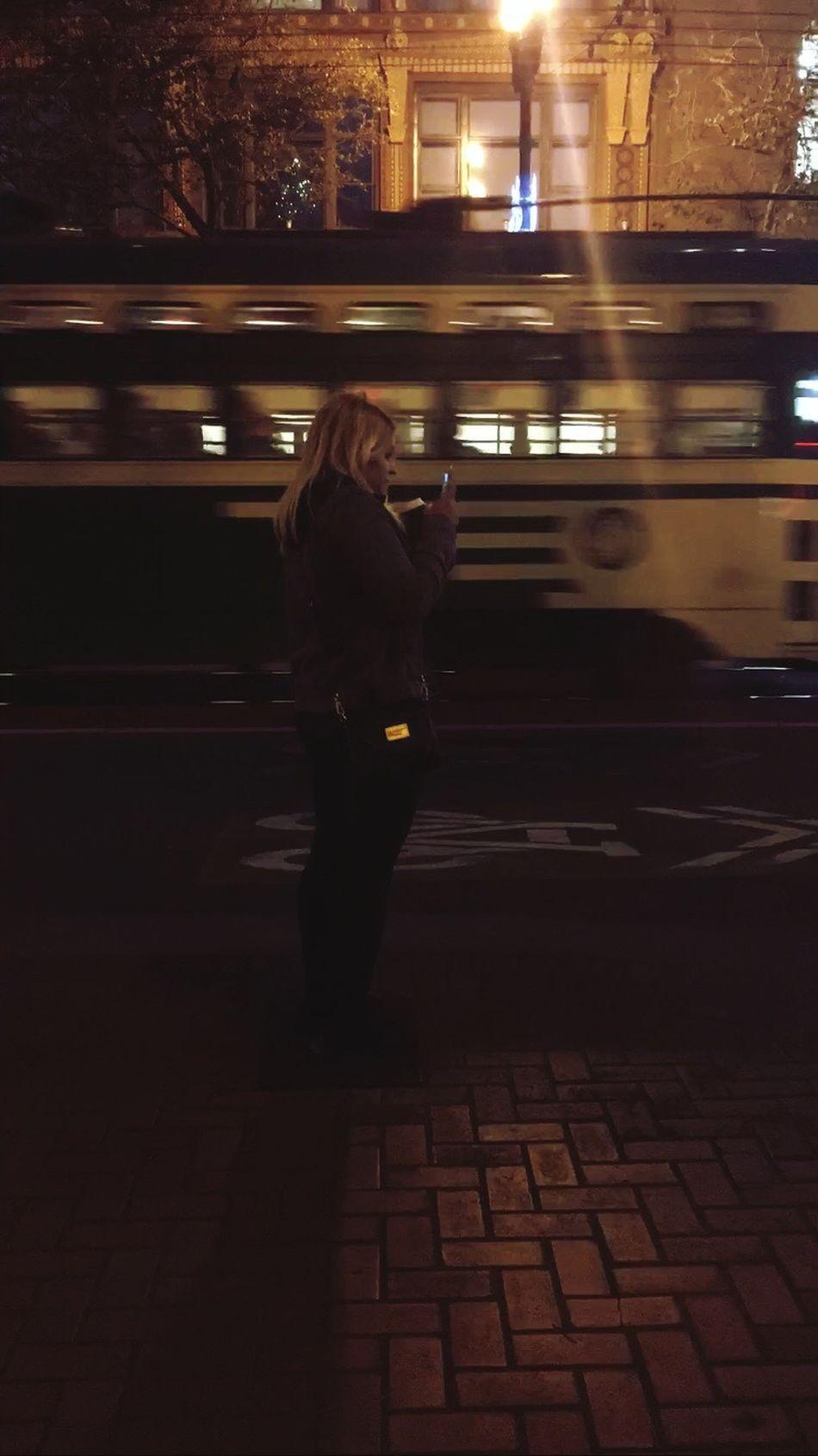 San Francisco Nightbus Knightbus Warfieldtheater Transportation One Person Real People Waiting Night People Citylife