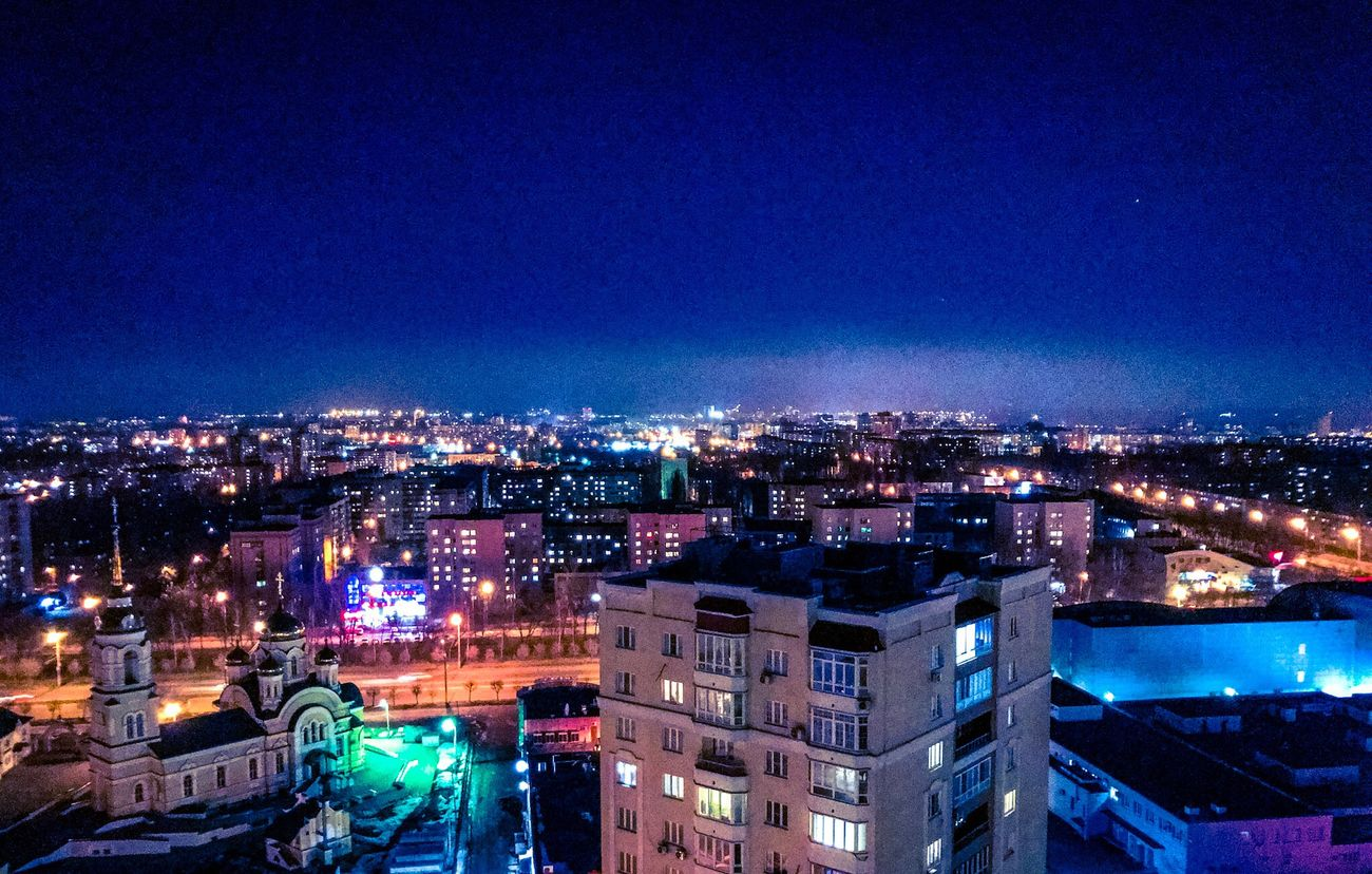 Night Building Exterior Cityscape City Architecture Illuminated Built Structure Sky Residential Building No People Outdoors Lipetsk липецк