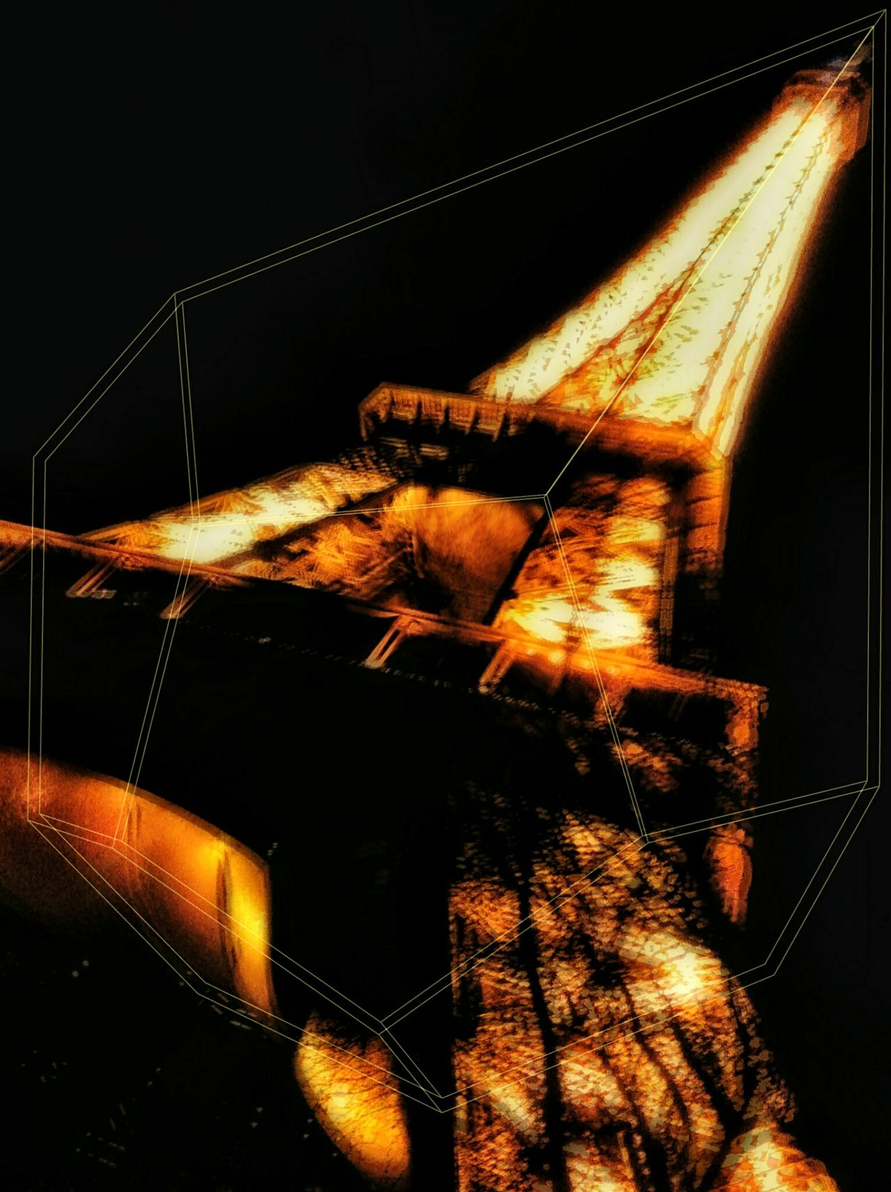 Eiffel Tower On Fire Graphic Night Black Background No People Indoors