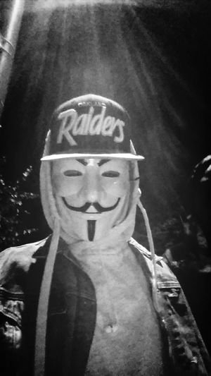 Anonymous Oakland Raiders Dark Portrait Smile
