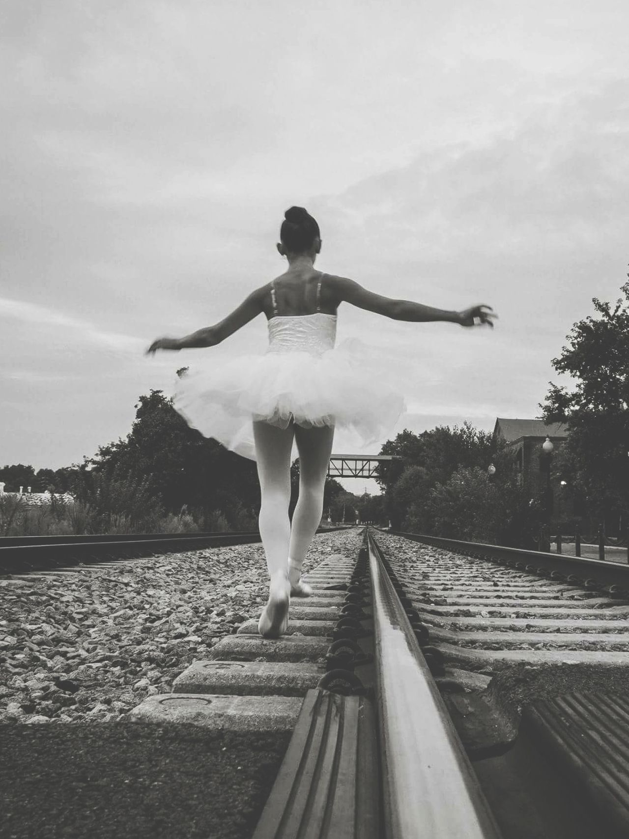 Rails and Pointe - Rear View Women One Person Sky Tree Cloud - Sky Beauty In Nature Outdoors Young Women People Adult Nature Day Adults Only Young Adult Ballerina Ballet Dancer My Daughter ♥ Ballet Shoes Railroad Track Welcome To Black