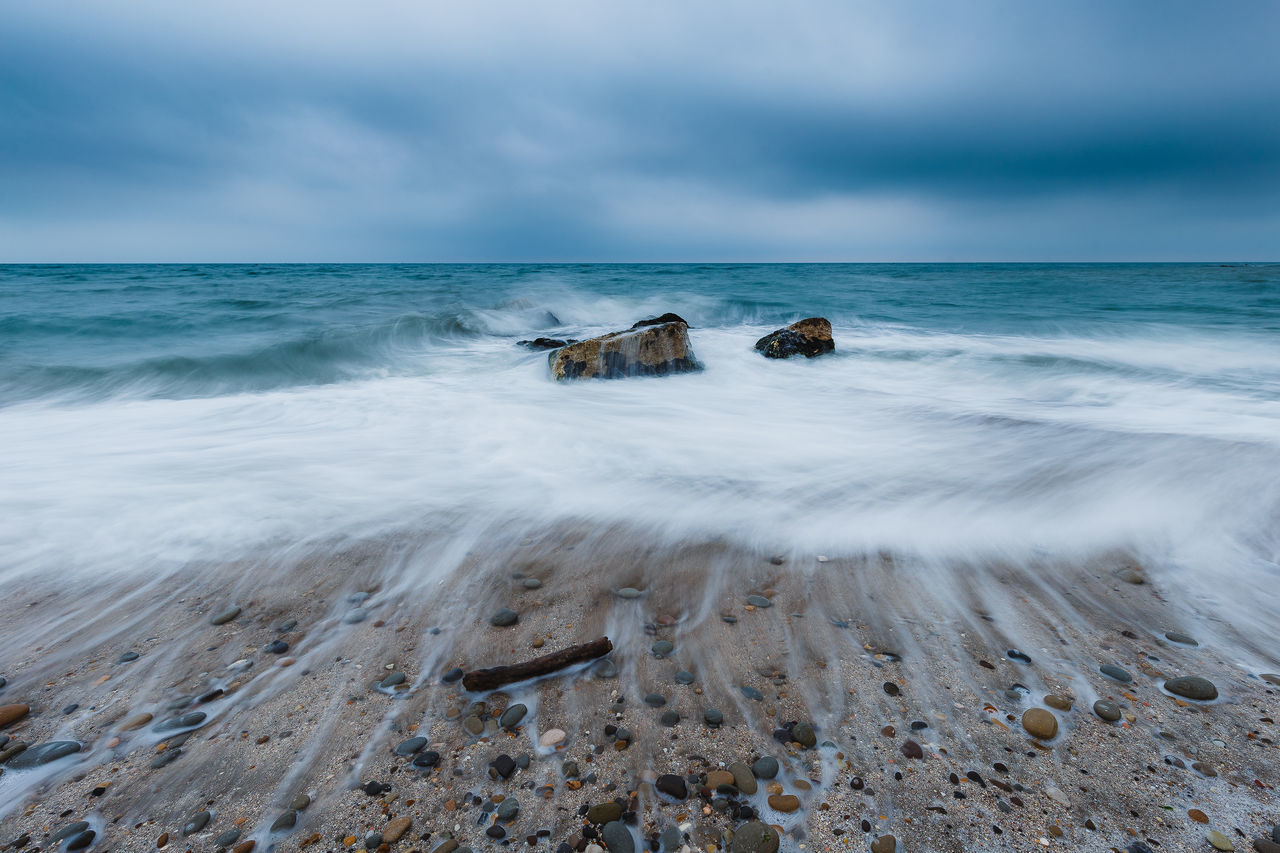 Beach Beauty In Nature Cloud - Sky Day Horizon Over Water Long Exposure Motion Nature No People Outdoors Rock - Object Scenics Sea Sky Tranquil Scene Tranquility Water Wave