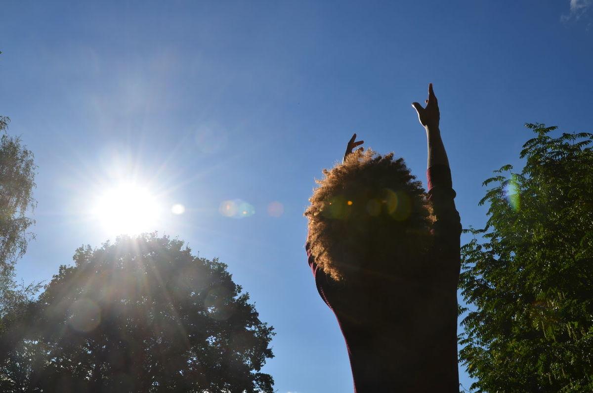 reaching for my dreams Afro Afrohair Bright Bright Blue Sky Dream Flares Philosophy Reach Reaching Reaching For The Sky Reaching For The Sun Silouette Sky Sun Sunlight Tree