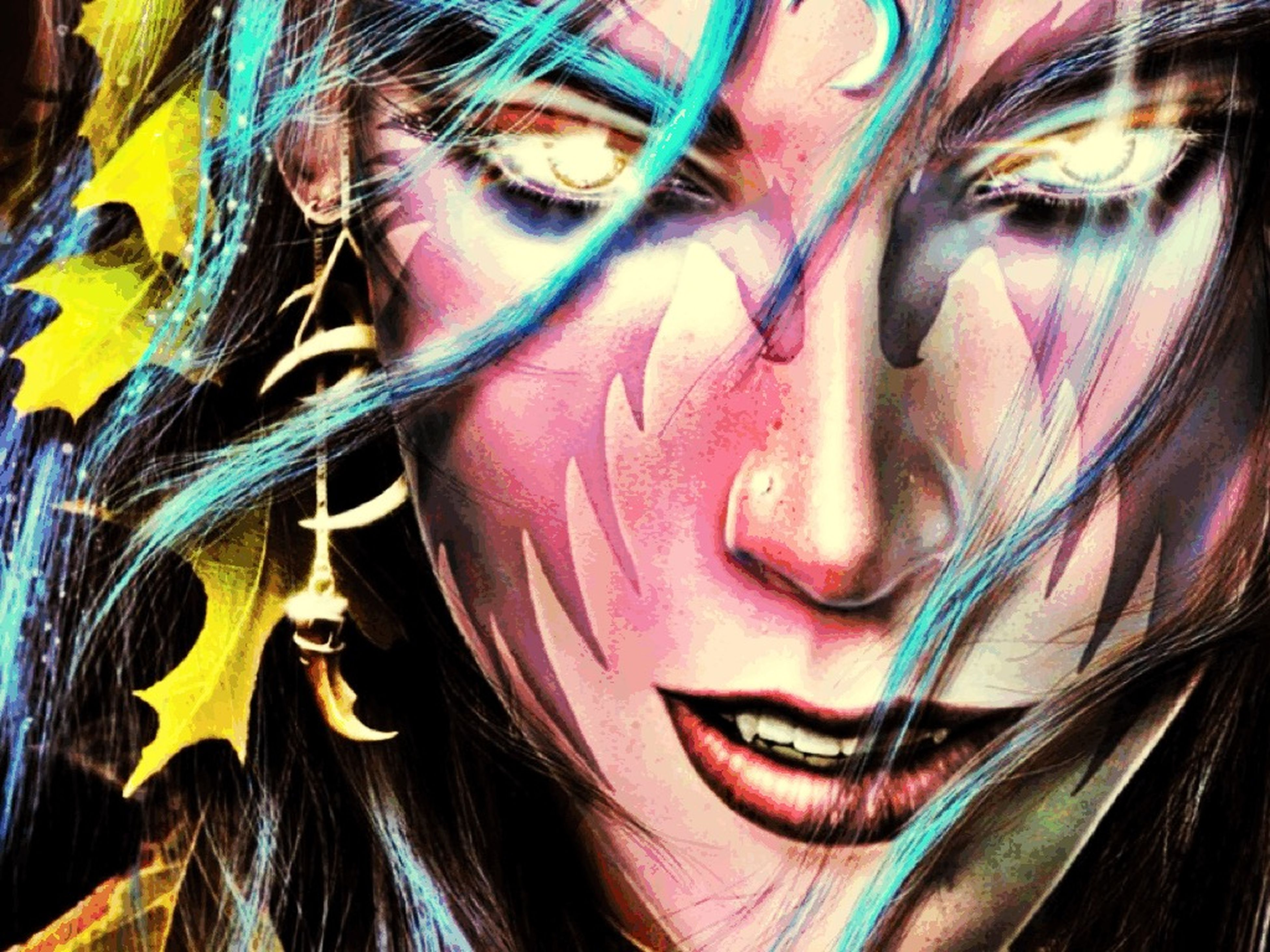 art, creativity, art and craft, young adult, young women, front view, indoors, portrait, looking at camera, person, close-up, multi colored, graffiti, human representation, wall - building feature, painting, long hair