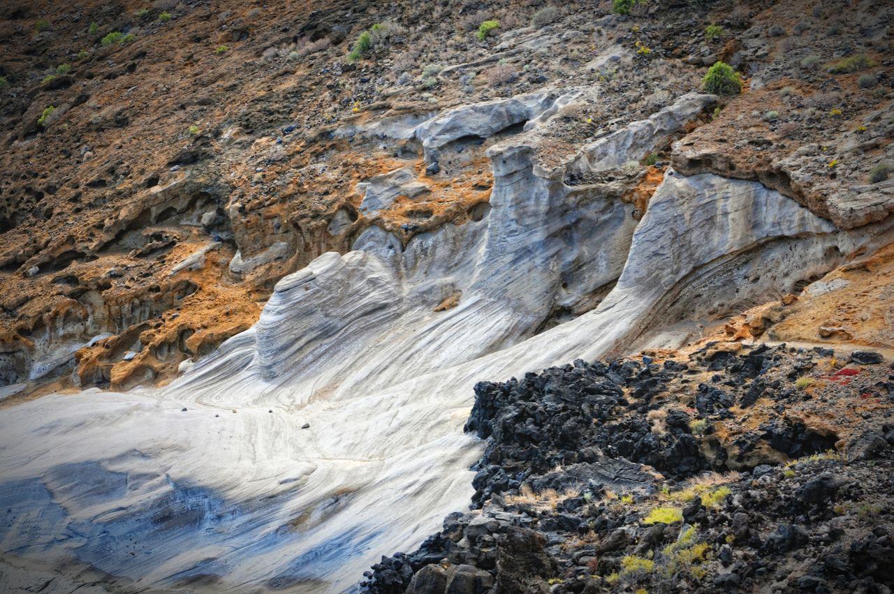rock formation on Montana Amarilla region at Tenerife. stone sand dunes of ice age. Canary Islands Cactus Montana Amarilla Teneriffa Tenerife
