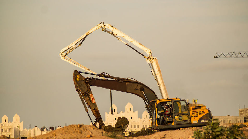 Atlantic Cape Verde Capo Verde Africa Architecture Beach Built Structure Clear Sky Construction Machinery Construction Site Construction Vehicle Day Digging Earth Mover Low Angle View No People Outdoors Sky Sun Transportation