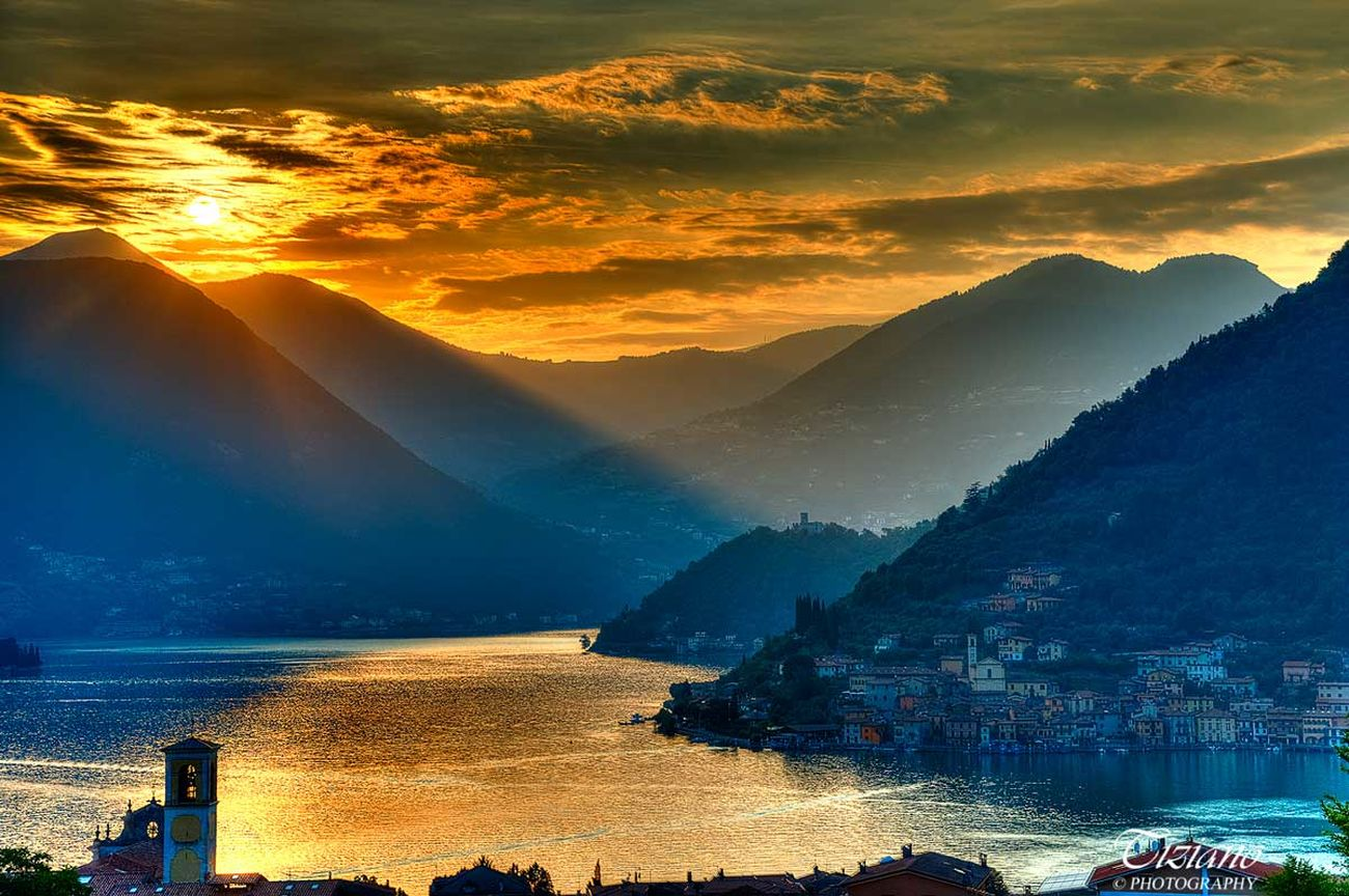 sunset on the Montisola Photo : Tiziano ©Photography Beauty In Nature Belltower Cloud - Sky Iseo Lake Landscape Montisola Mountain Nature Reflection Sky Sunset