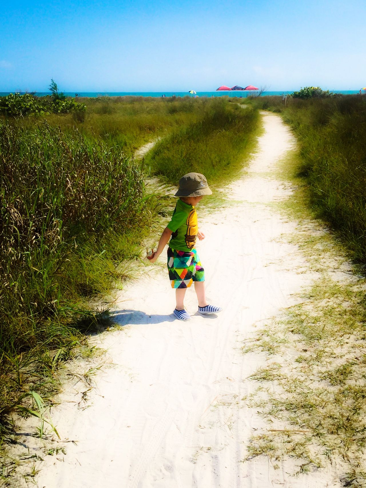 Full Length Grass Green Sand Grandson Beach Nature Nature Is My Best Friend Beauty In Nature The Way Forward Plant Sunlight Landscape Day Outdoors Tadaa Community Sky Grassy Blue Sea Tranquility Diminishing Perspective Running Portrait Of A Toddler Nature Photography