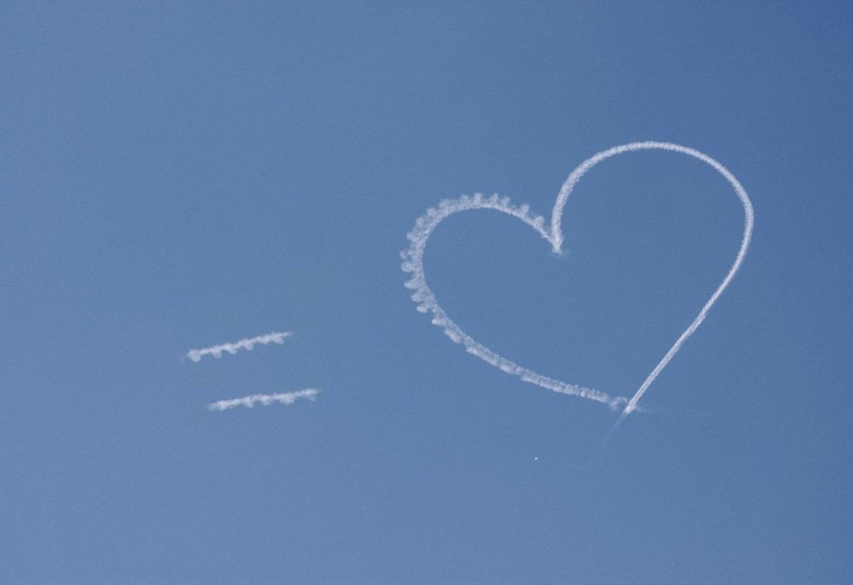Beauty In Nature Blue Day Forming Heart Shape Love Nature No People Outdoors Sky Vapor Trail