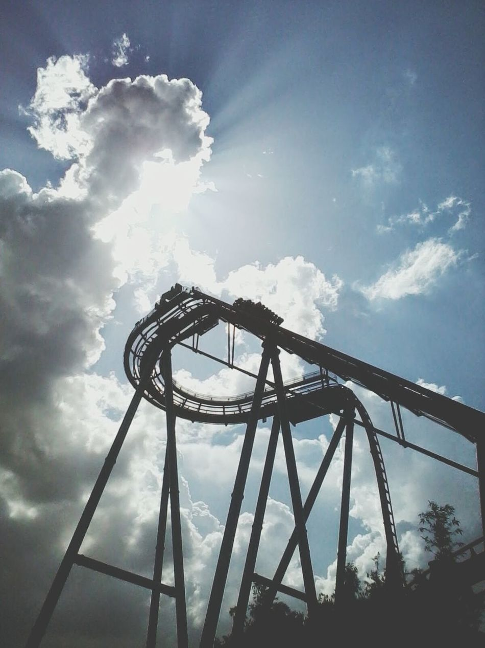 Beautiful stock photos of roller coaster, Amusement Park Ride, Back Lit, Built Structure, Cloud