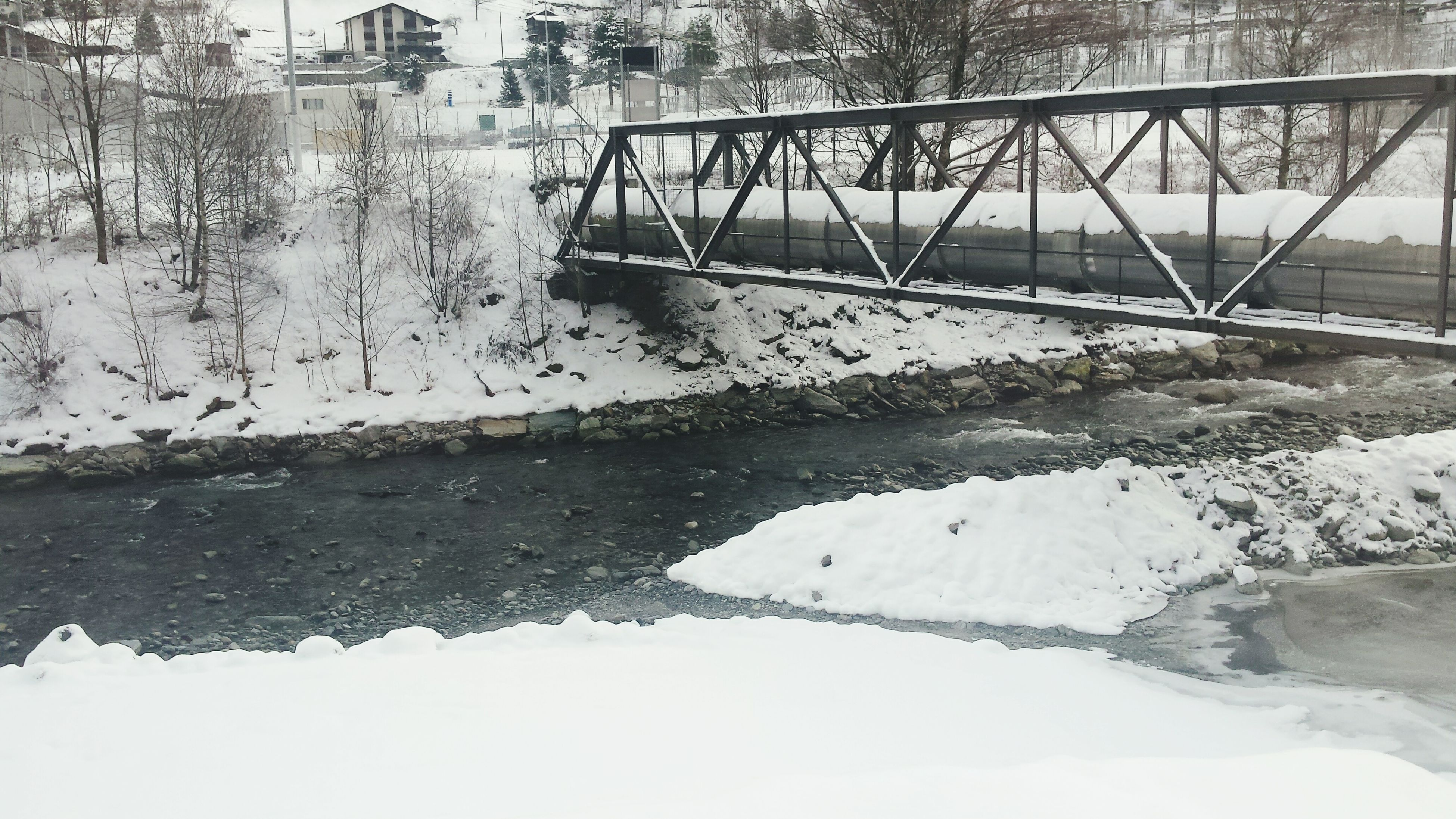 snow, winter, cold temperature, water, season, river, weather, built structure, frozen, bridge - man made structure, nature, tranquility, architecture, bare tree, covering, connection, tranquil scene, tree, lake, railing