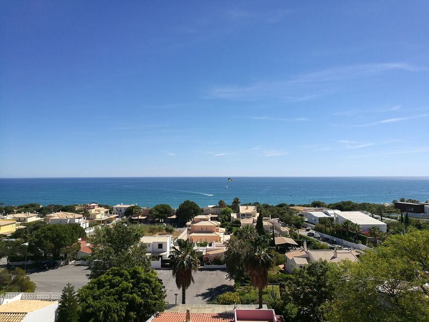 Sea Horizon Over Water Beach High Angle View Clear Sky Outdoors Blue Building Exterior Water Sky Vacations Summer Tree Beauty In Nature Architecture Cityscape Algarve Sea View Coast View Horizont  View From The Top