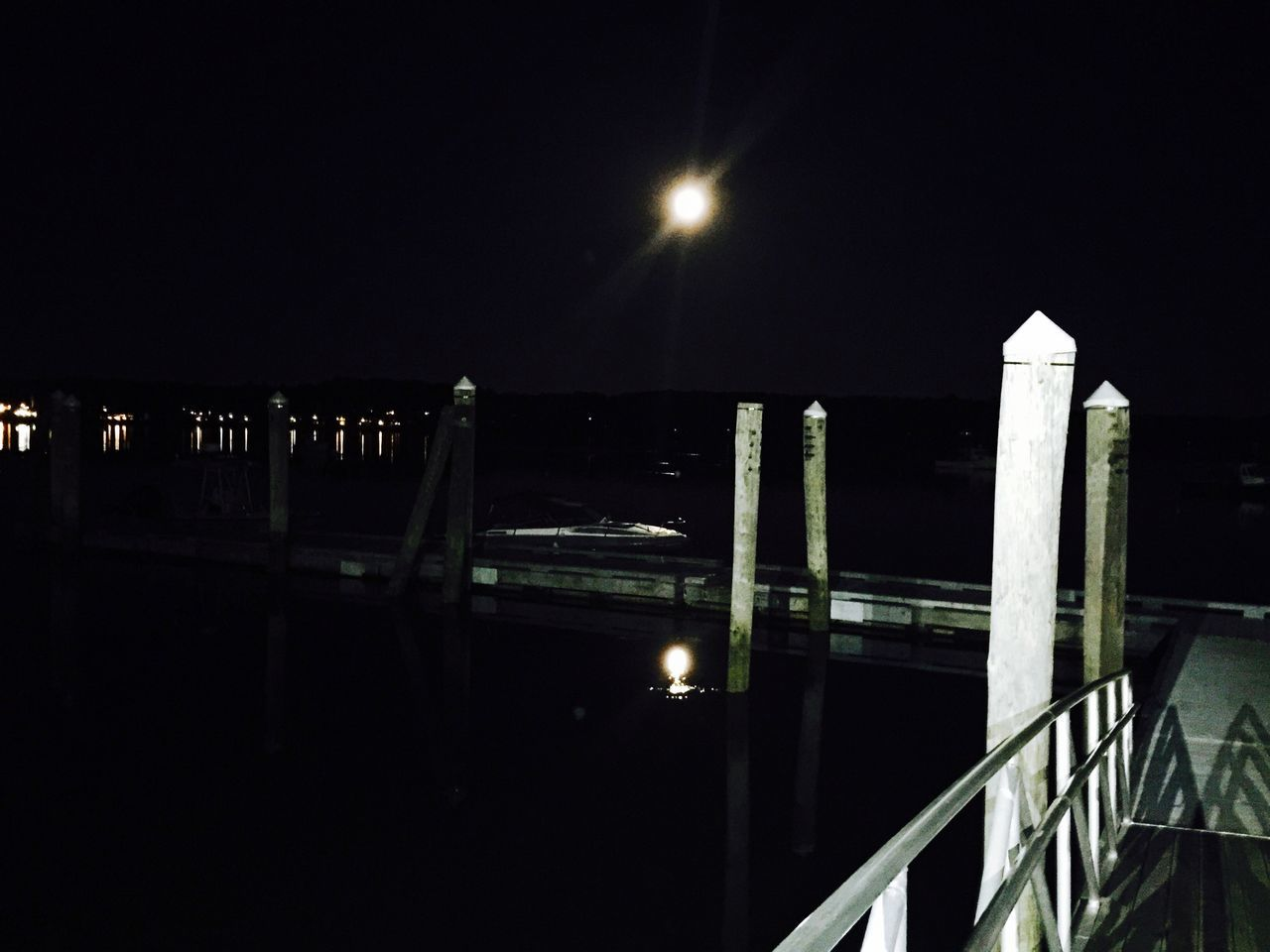 Waterfront Nightphotography Moon Moonlight Taking Photos Maine Carol Sharkey Photography