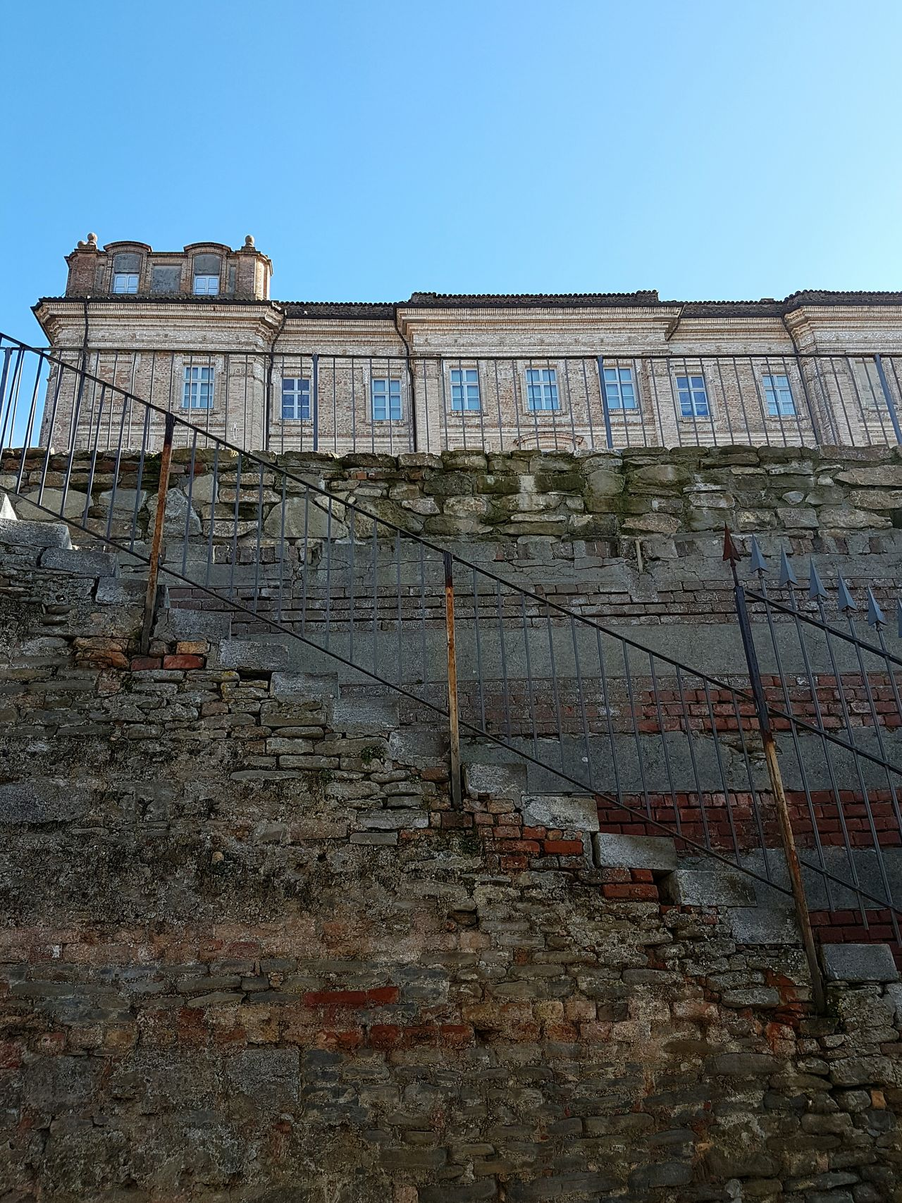 Clear Sky Outdoors No People Day Sky Cultures Architecture Low Angle View Building Exterior Piedmont Italy Langhe Travel Destinations Brick Wall At The Castle Castle Old Stair