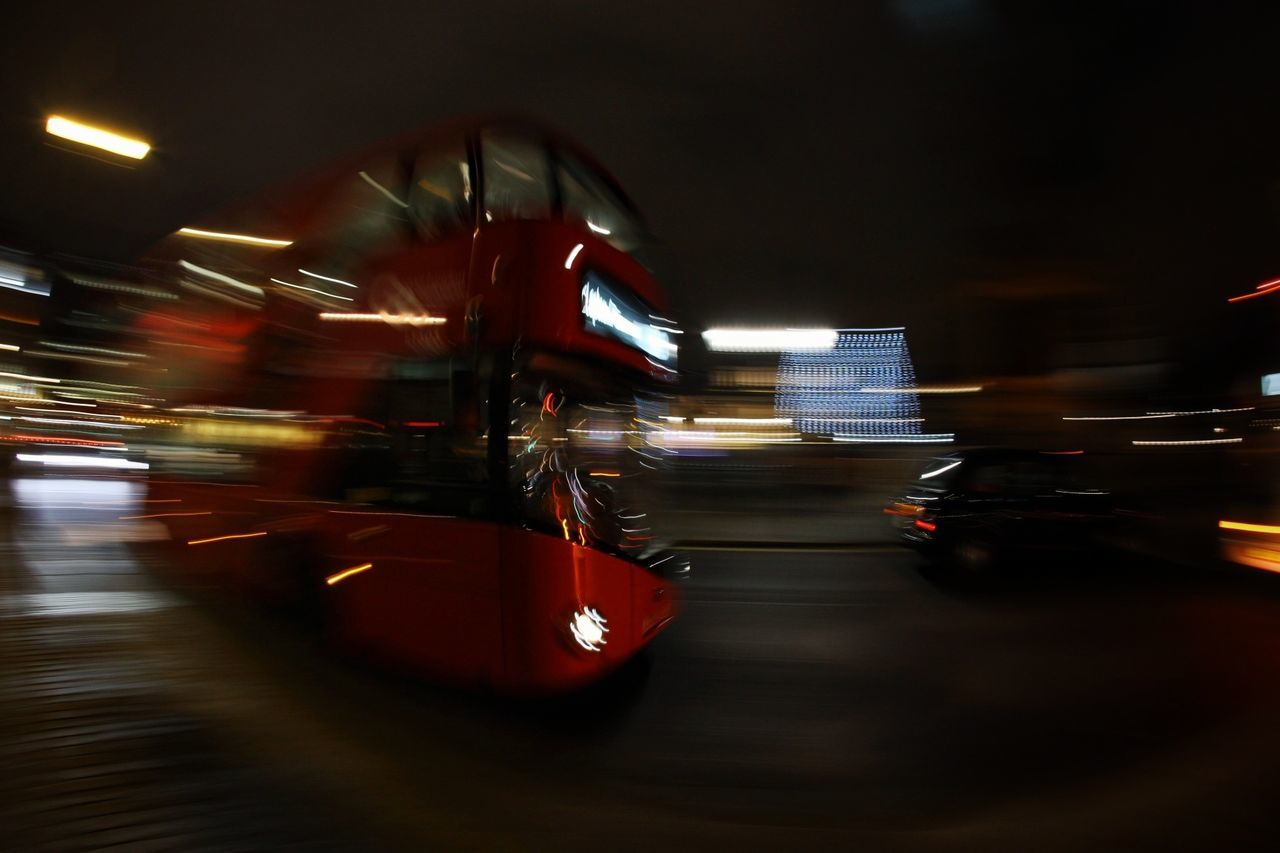 bus blur Speed Blurred Motion Motion Night Illuminated Driving No People Outdoors Lights Light Trail Public Transportation British Street Long Exposure Double Decker Bus Buses London Bus London Streets London Transportation Red Fisheye