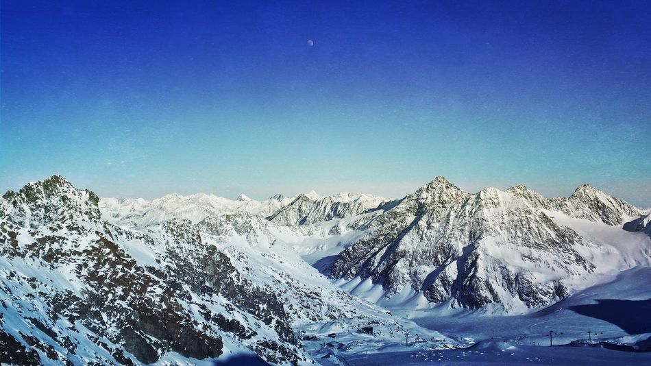 Bluesky and the moon Mountains Pitztaler Gletscher Streamzoofamily Austria EyeEm Nature Lover Nature_collection Landscape_photography Landscape_Collection Moon Blue Sky
