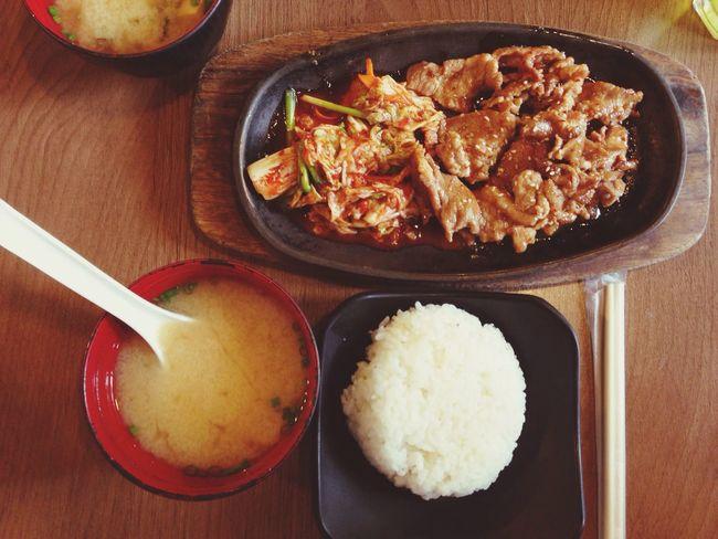 Fried Pork with Kimji Japanese & Korean Food Lunch Set Top View Top Shot On The Table Set Menu 12:00 Japanese Style Tan Tan Esplanard Ratchadapisek Bangkok