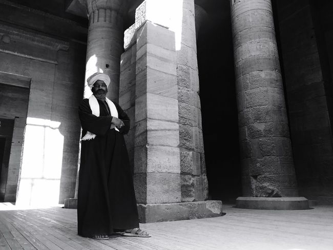In the temple Black & White Blackandwhite Black And White Treasure Tourism Pharoah Egyptian Egypt Men Temple Architectural Column Statue Built Structure Architecture Low Angle View Day One Person Sculpture Standing Outdoors Men People