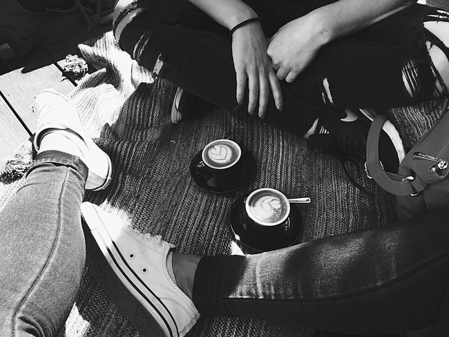 Monochrome Photography Friendship Togetherness Only Women Day Black & White Travel Photography Espresso Macchiato People Outdoors City Break Coffee Break Espresso City Life Coffee Cup Coffee - Drink Cup Chill Chilling Chill Mode Real People High Angle View Adult Friends Friends Time