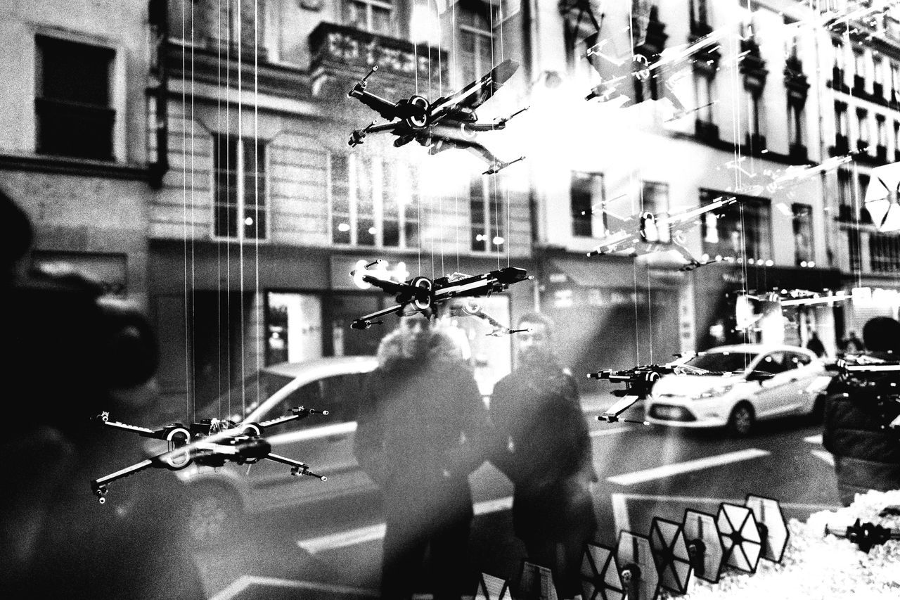Invaders in Paris - Star Wars - Galeries Lafayette Street Photography Streetphotography Blackandwhite Bnw Eye4photography  Eye4black&white  Photography Check This Out Starwars Xwing