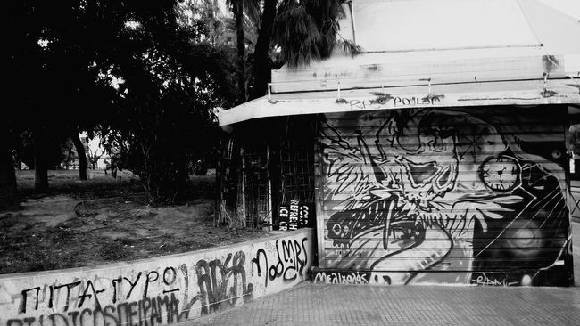 Kiosk Graffiti Street Art Black And White Blackandwhite Photography Black And White Collection  Athens, Greece Athens Black And White Photography Blackandwhite Black & White