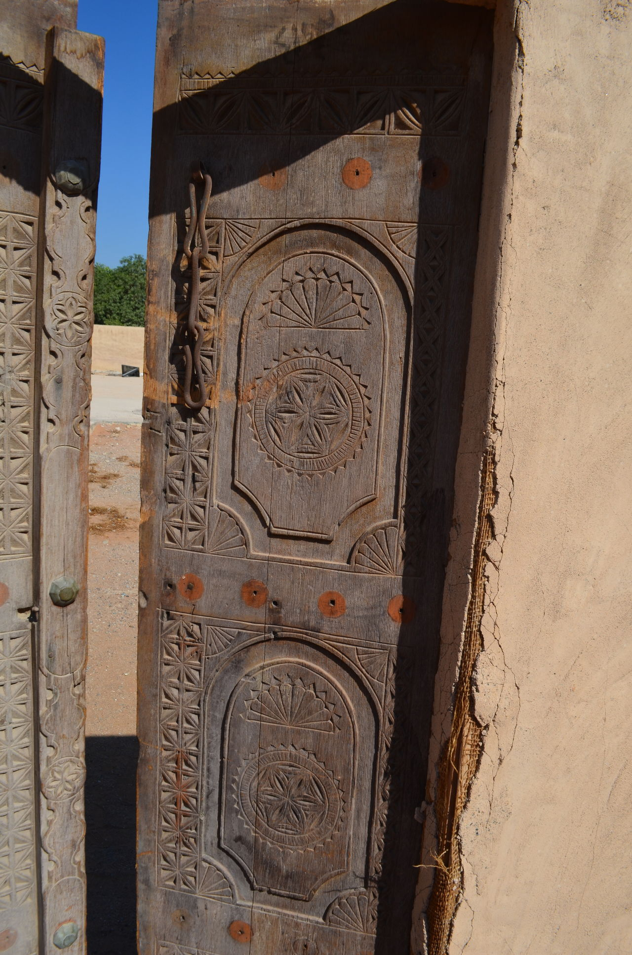 Ajar Architecture Built Structure Close-up Day Door Fort Fujairah Historical Building History No People Outdoors Sky Travel UAE United Arab Emirates Wood Carving Wooden