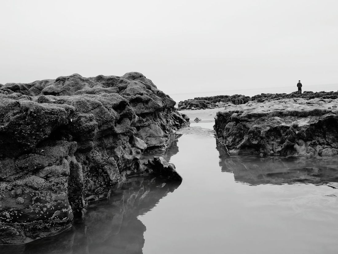 Water Reflection Landscape Outdoors Rock Pool Beach Walk South Wales Coast Porthcawl Trecco Bay Beach Black & White Beauty In Nature Nature Day Sky One Person One Man Only Standing Finding New Frontiers