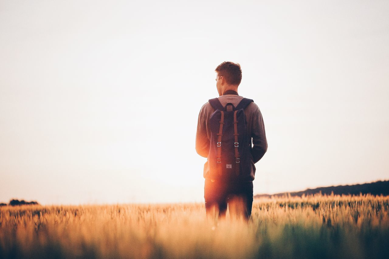 Beautiful stock photos of camping, Backpack, Clear Sky, Copy Space, Countryside