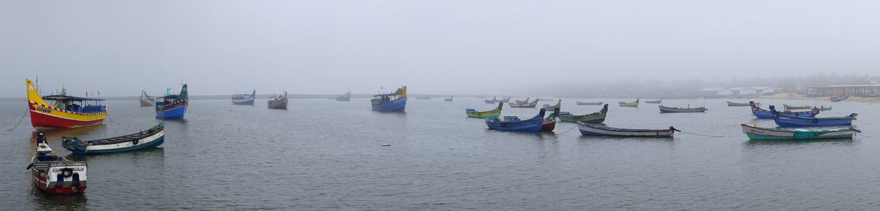 Foggy Morning Boat Boats Calm Fishing Fishing Boat Fishing Boats Foggy Foggy Morning Harbor Harbour Harbour View India Kerala Kozhikode Misty Morning No People Panorama Panoramic Photography Sea Seascape Tranquil Scene Water Wide Angle Wide View