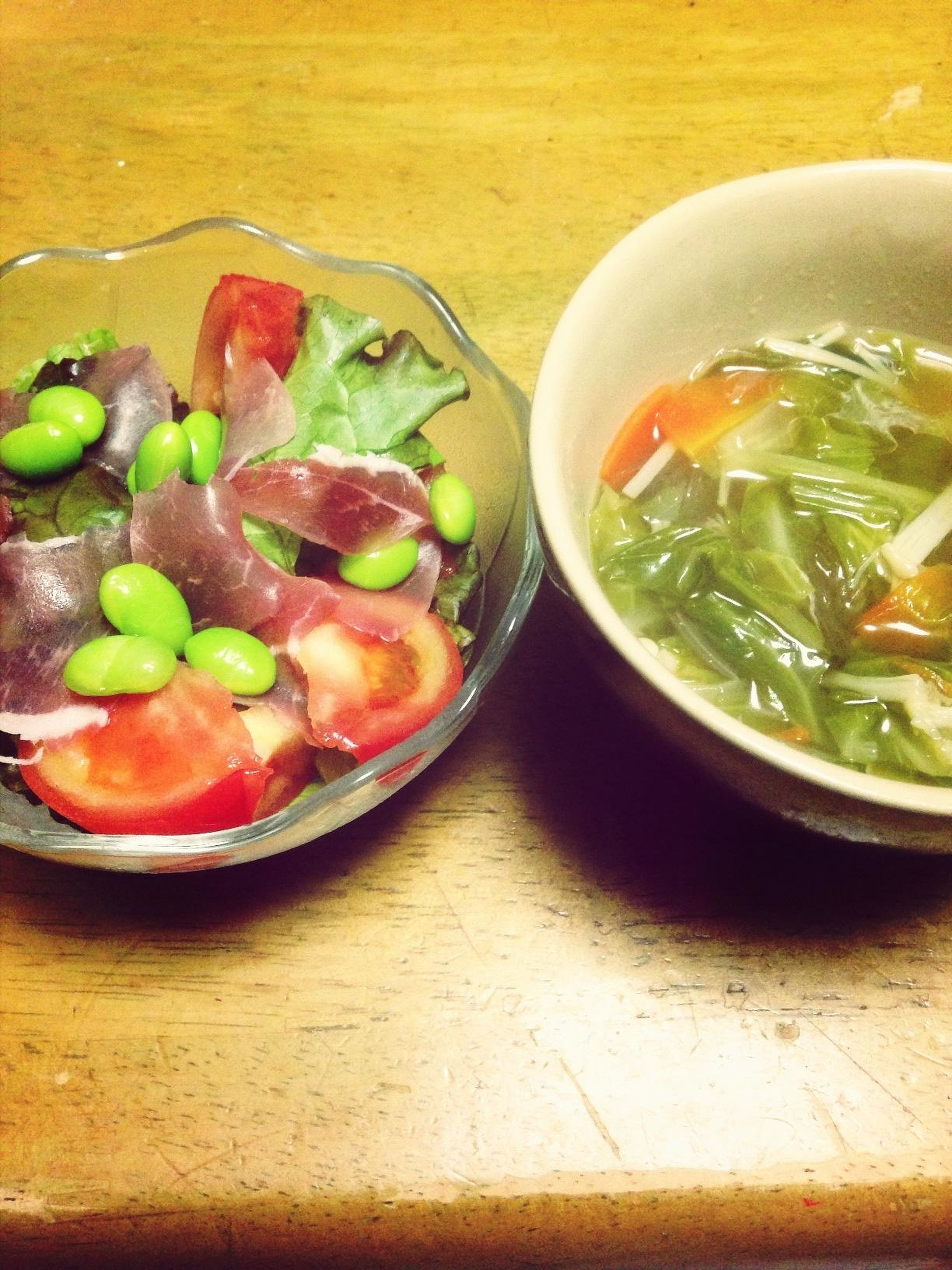 food and drink, food, freshness, healthy eating, indoors, table, bowl, still life, vegetable, ready-to-eat, high angle view, soup, plate, meal, serving size, salad, close-up, healthy lifestyle, slice, no people