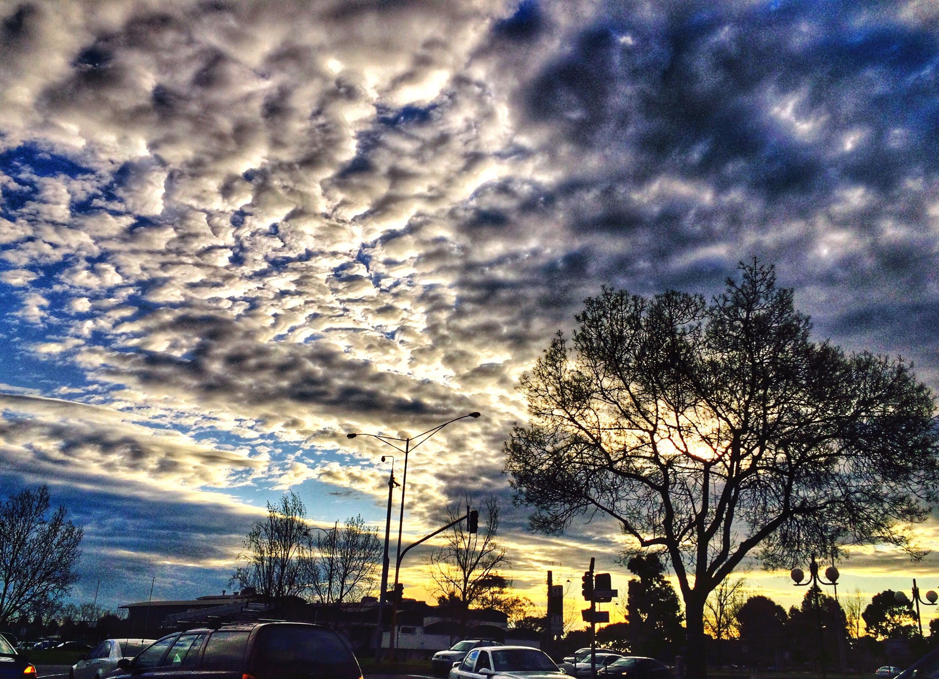 sky, cloud - sky, tree, transportation, car, cloudy, land vehicle, mode of transport, bare tree, weather, cloud, silhouette, nature, sunset, scenics, overcast, road, beauty in nature, tranquility, tranquil scene