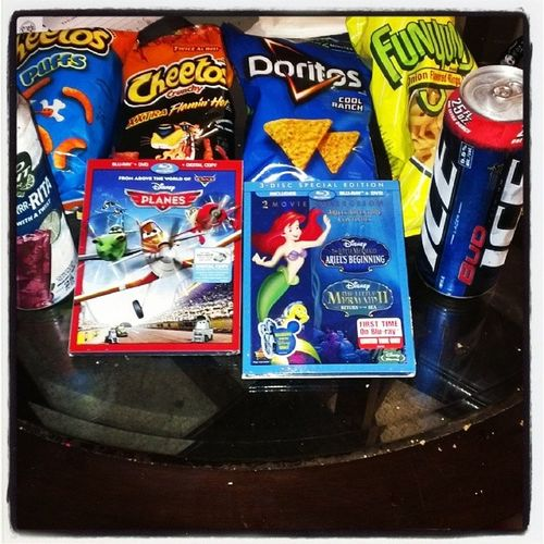 Looks like its a Disney movie night once again Fambamtime Family1st LittlemermaidII planes disneymovies disneymovierewards rewardsmember munchies beer