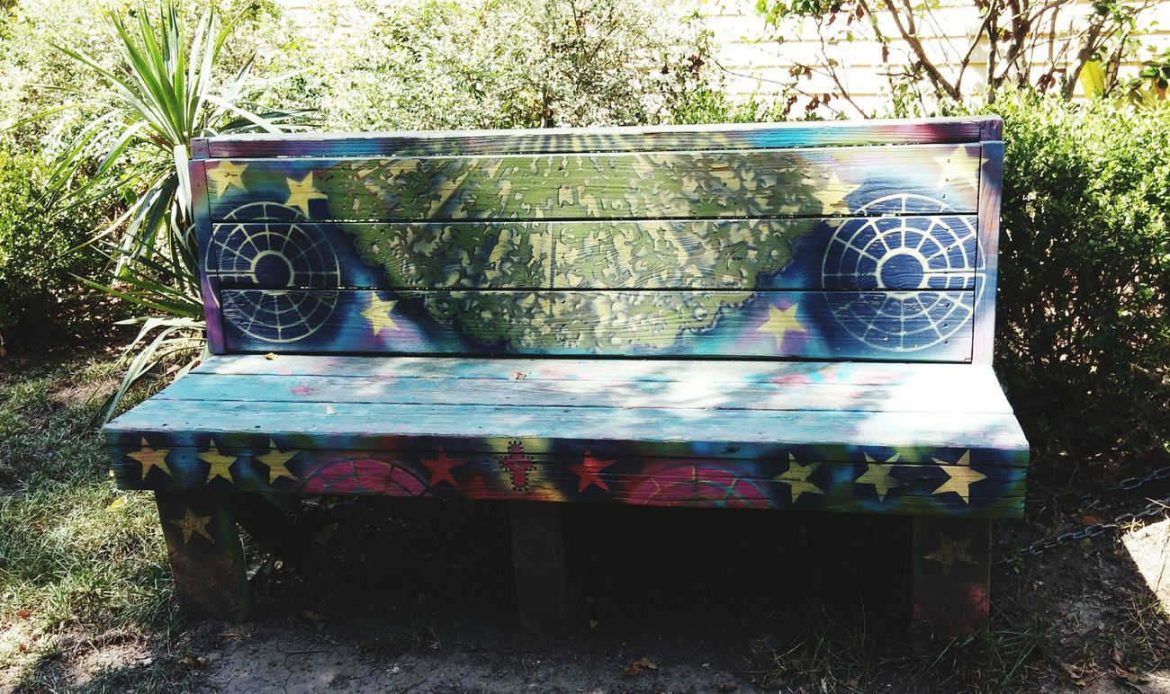 Sitting Bench Colorful Outdoor Photography Stars Greenery Nice Beautiful