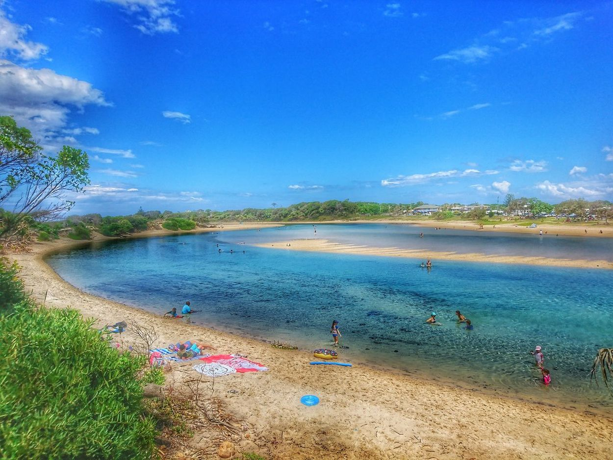 Blue Sky Nature Reflection Water Tree Beauty In Nature Landscape Outdoors Day Beachphotography Beach Beach Life Estuary Estuary View Swimming Beach Activity Clear Water Beach Relaxing