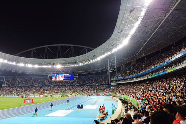 Stadium Games Olympic Olympics Illuminated Crowd Spectator Eye4photography  EyeEm Best Shots Lights Brazil Brasil Evening Athletics Running